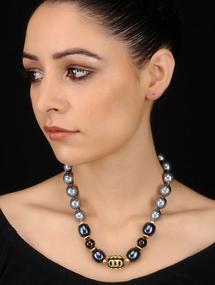 Grey-Black Shell Pearl Topaz and Onyx Beaded Necklace