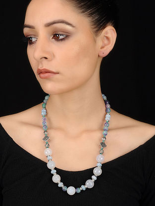 Turquoise-White Quartz and Agate Beaded Necklace