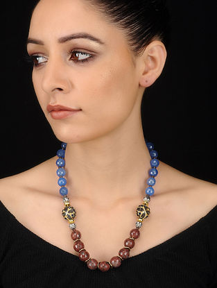 Blue-Brown Agate and Quartz Beaded Necklace