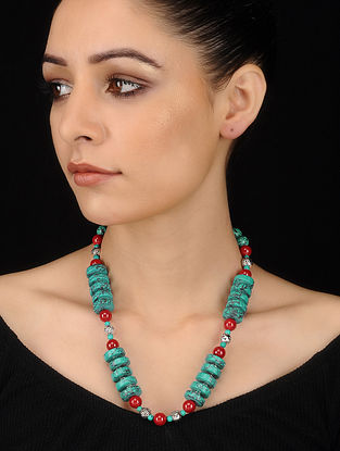 Turquoise-Coral Beaded Necklace