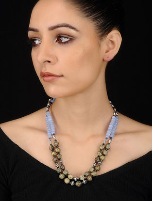 Powder Blue-Green Agate and Onyx Beaded Necklace