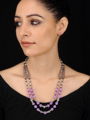 Purple-Grey Agate and Onyx Beaded Necklace