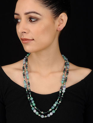 Multicolored Crystal and Agate Beaded Necklace
