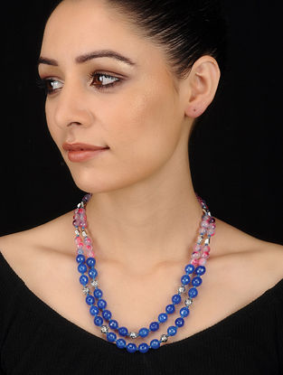 Blue-Pink Crystal and Agate Beaded Necklace