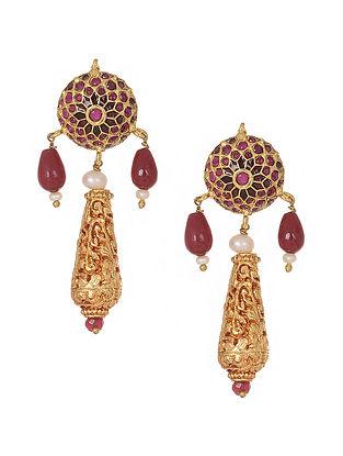 Red Gold Tone Jadau Earrings