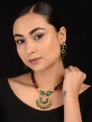 Burgandy-Green Gold Tone Kundan Inspired Necklace with Earrings (Set of 2)