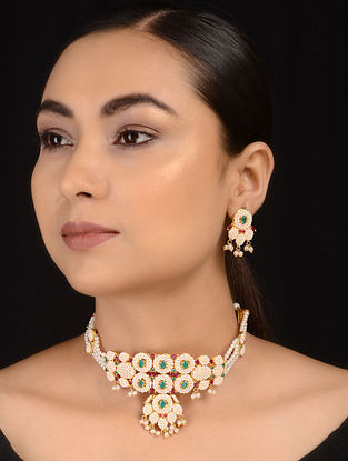 Green-White Jadau and Pearl Choker Necklace with Earrings (Set of 2)