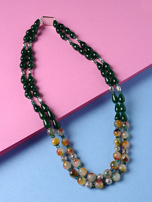 Green-Multicolored Onyx and Agate Beaded Necklace