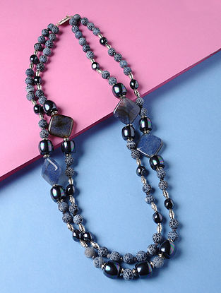 Blue Matt Agate Onyx and Shell Pearl Beaded Necklace