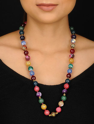 Multicolored Gold Tone Agate Beaded Necklace
