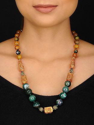 Green Yellow Agate Jade Jadau and Geru Beaded Necklace