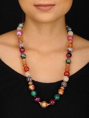 Multicolored Agate Jade and Geru Beaded Necklace