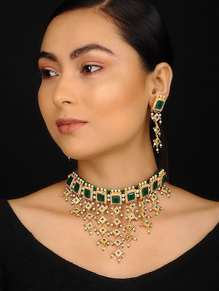 Green Gold Plated Stone Necklace with Earrings (Set of 2)