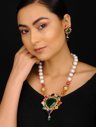 Multicolored Gold Plated Kundan Inspired Navratan Necklace with Earrings (Set of 2)