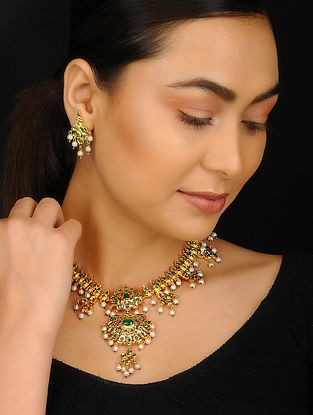 Green Gold Plated Jadau Necklace with Earrings (Set of 2)