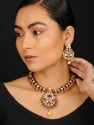 Maroon Gold Plated Kundan Inspired Meenakari Necklace with Earrings (Set of 2)