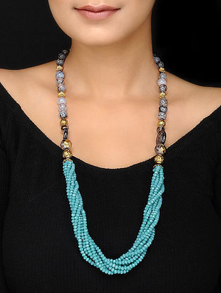 Turquoise and Grey Agate Beaded Necklace