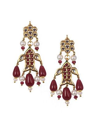 Maroon Gold Tone Kundan Earrings With Pearls