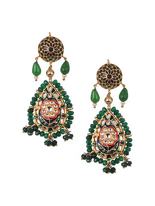 Green Blue Gold Tone Kundan Enameled Beaded Earrings