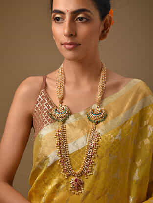 Pink Green Gold Tone Kundan Beaded Necklace With Pearls