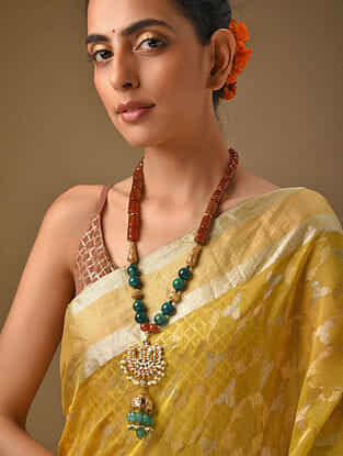 Multicolored Gold Tone Kundan Beaded Necklace With Pearls