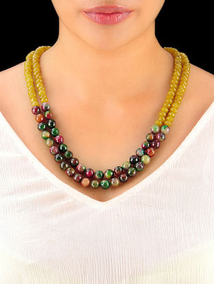 Amber - Shaded Green Hand Beaded Necklace