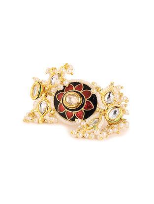 Black Red Meenakari Gold Plated Kundan Adjustable Ring with Pearls