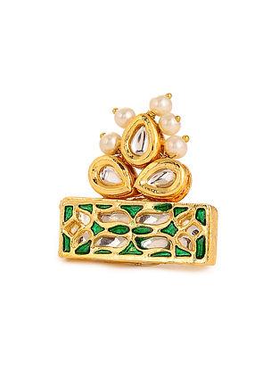Green Meenakari Gold Plated Kundan Adjustable Ring with Pearls