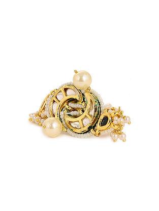 Green Maroon Meenakari Gold Tone Kundan Adjustable Ring with Pearls