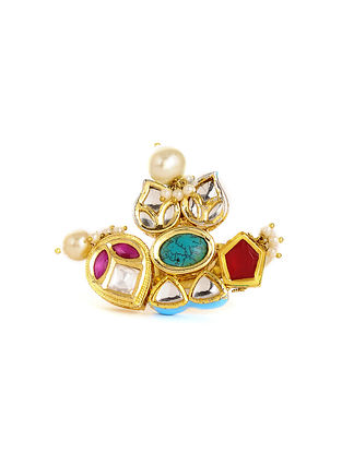 Multicolored Gold Tone Kundan Adjustable Ring with Pearls