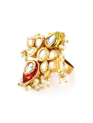 Red Meenakari Gold Tone Kundan Adjustable Ring with Pearls