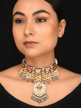 Red Grey Enameled Gold Tone Kundan Necklace with Pearls