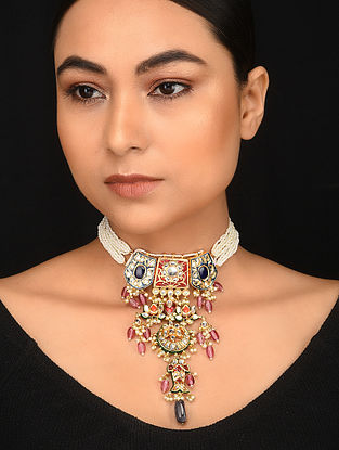Multicolored Meenakari Gold Plated Necklace with Pearls
