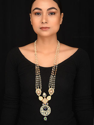 Red Blue Gold Plated Kundan Necklace with Pearls
