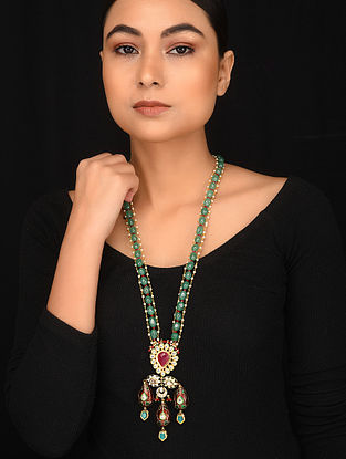 Multilcolored Meenakari Gold Plated Kundan Necklace with Pearls