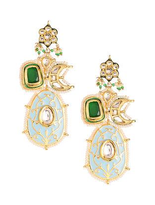 Green Blue Meenakari Gold Plated Kundan Earrings