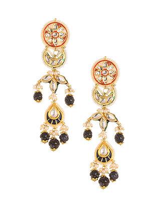Multicolored Meenakari Gold Plated Kundan Earrings with Pearls
