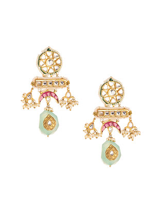 Pink Blue Gold Plated Kundan Earrings with Pearls