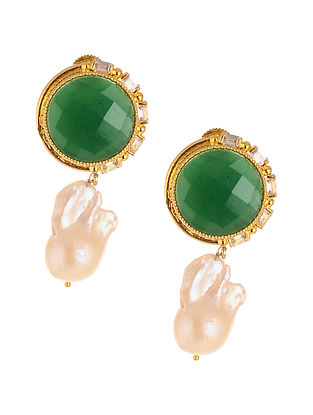 Green Gold Plated Earrings with Pearls