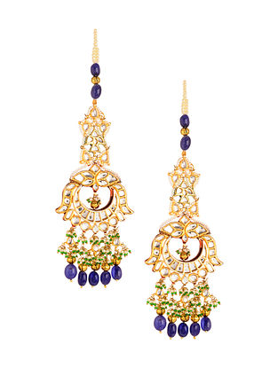 Blue Green Gold Plated Kundan Earrings with Pearls