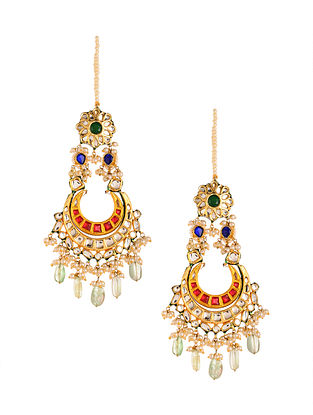 Multicolored Gold Plated Kundan Earrings with Pearls