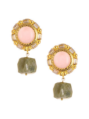 Green Pink Gold Plated Earrings