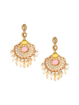 Pink Yellow Gold Plated Kundan Earrings with Pearls