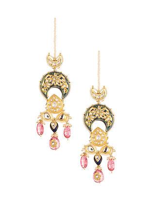 Blue Pink Meenakari Gold Plated Kundan Earrings with Pearls