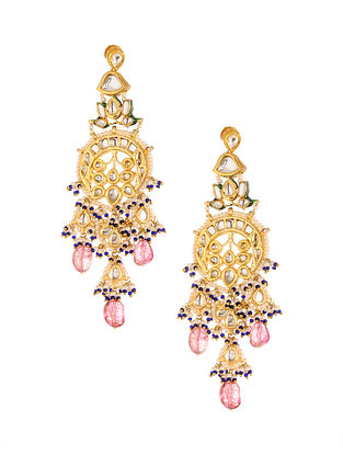 Blue Pink Gold Plated Kundan Earrings with Pearls