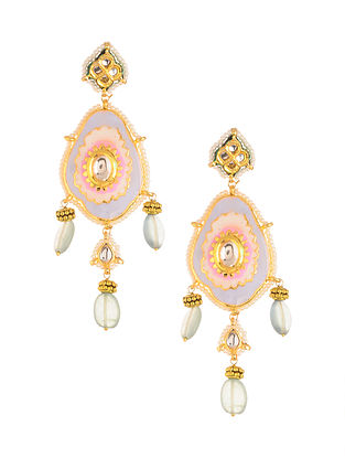 Blue Pink Meenakari Gold Plated Earrings with Pearls