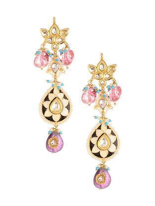 Multicolored Meenakari Gold Plated Kundan Earrings