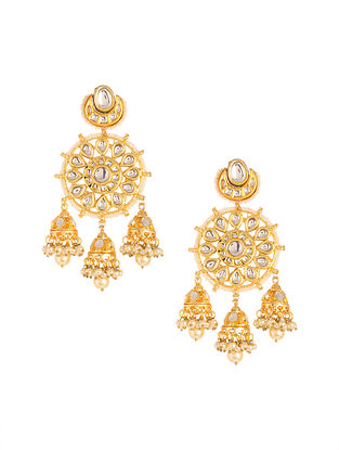 Gold Plated Kundan Earrings with Pearls