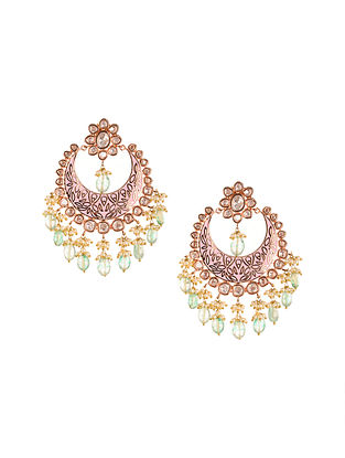 Pink Gold Plated Kundan Chaandbali Earrings with Pearls