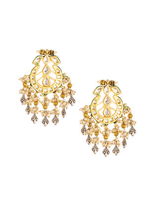 Dual Plated Kundan Earrings with Pearls